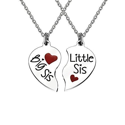 Collar con colgante en forma de corazón con diseño de BIB SIS LITTLE SIS