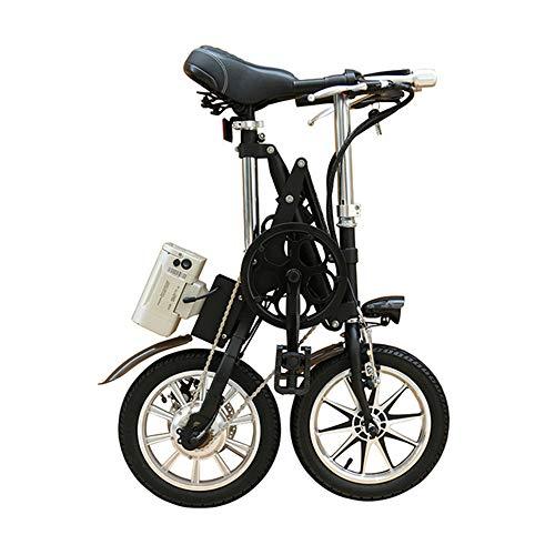 WYFDM Bicicletas, 16 Pulgadas, Aluminio, luz, Plegable, Bicicleta eléctrica, Velocidad, Doble Disco, Frenos, ultraligeros, para Hombres y Mujeres, Mini niños, Bicicletas Bicicleta de montaña,Black