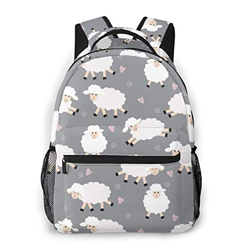 Shichangwei Mochila Escolar Seamless Sheep Pattern On Gray Durable Kids Back To School Backpack Polyester Book Bag For Boys Girls Adults