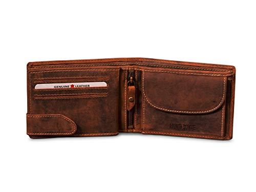 Giorgio Carelli® Herren Leder Geldbörse mit RFID-Schutz Echtleder Geldbeutel Portemonnaie (Braun)