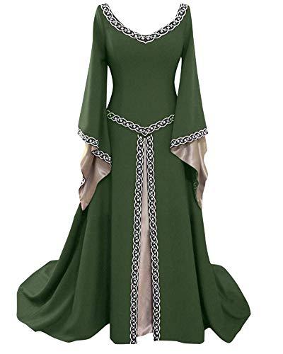 Costume da Regina Medievale Donna Vittoriano Abito da Sera Ricamo Gotico Rinascimentale Eleganti Vestito Verde M