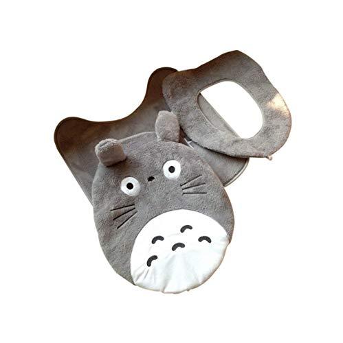 3Pcs Cartoon Totoro Badezimmer Set Toilettenbezug Winter Warm Soft Plüsch Sitzkissen Toilettenbezug Bad Fußpolster Closestool Mat.-Nr.