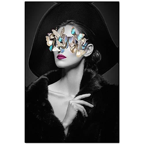 Wenqike Arte Abstracto nórdico Lienzo Flor Gafas Mujer Lienzo Pintura decoración Blanco y Negro Sala de Estar decoración de Pared sin Marco 30x40cm