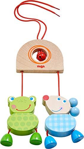 HABA 305232 - Hängefigur Zappelduo, Babyspielzeug für Babyschale, Spieltrainer, Kinderbett und Kinderwagen, mit Glöckchen, Holzspielzeug ab 6 Monaten