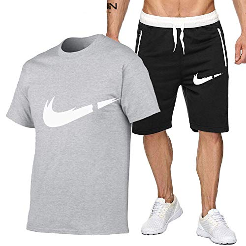 DREAMING-Hombres transpirables jogging deportes verano algodón de manga corta fitness casual camiseta top + shorts traje de pantalones de cinco puntos XXL