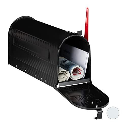 Relaxdays Cassetta Postale Americana, Vintage, US Mailbox, Scomparto Giornali, Bandiera Rossa, 22x16x48 cm, Color Nero, Acciaio, 1x Confezione portabandiera