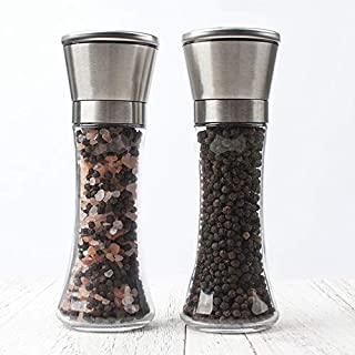 Salt and Pepper Grinder Set of 2,Premium Stainless Steel Pepper & Salt Mill Ceramic Shakers with Adjustable Coarseness