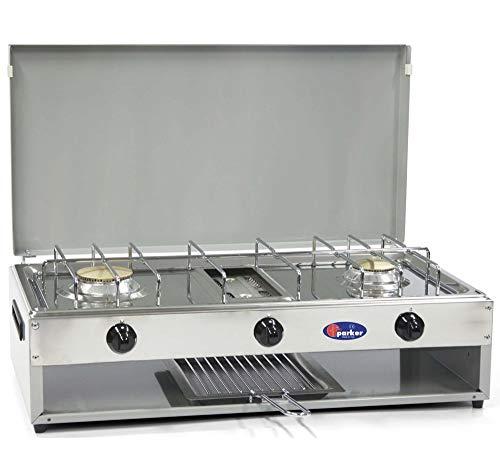 Fornello a gas Metano 2 fuochi con grill inox per uso esterno Cfparker mod 552Gm Colore Grigio - Casa e Campeggio