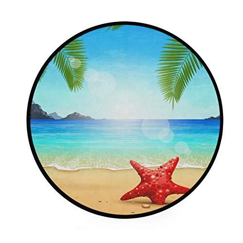 BIGJOKE Runde Teppiche mit Palmenblättern, Ozean und Strand, rutschfest, runde Matte, Spielteppich, für drinnen und Kinder, für Wohnzimmer, Schlafzimmer, Flur und Heimdekoration, Durchmesser 91,4 cm