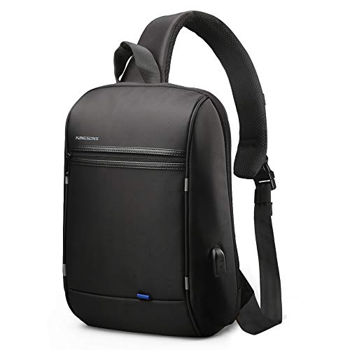 Mens Sling Bag 13.3 inch laptop bag with USB Charging Port Chest Shoulder backpack anti theft Cross-Body Bags,Multipurpose Daypack IPad Rucksack