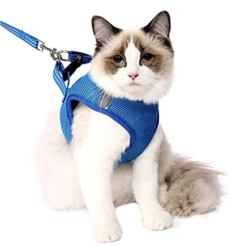 Cat Harness and Leash Set Ultra Light Ajustable Malla Suave Malla de Malla Chaleco para Pequeño Perro Medio Gato Pet Pet Pista A Prueba de Escape Conjunto-Azul_XS