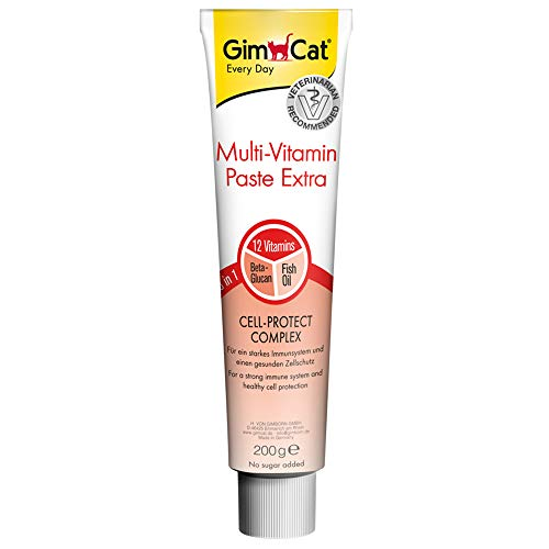 GimCat Multi-Vitamin Extra, pasta multivitaminas - Snack para gatos, con beta-glucano y omega 3 & 6 para una protección celular saludable - 1 tubo (1 x 200 g)