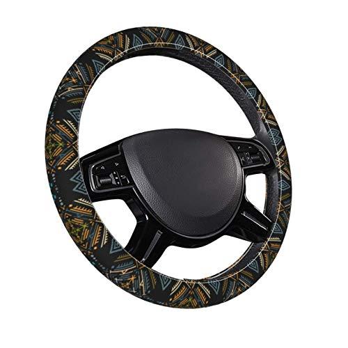 Ethnic Boho Ornament Universal Auto Car Steering Wheel Covers Pu Leather Steering Wheel Cover for Women and Men Car Accessories Protection