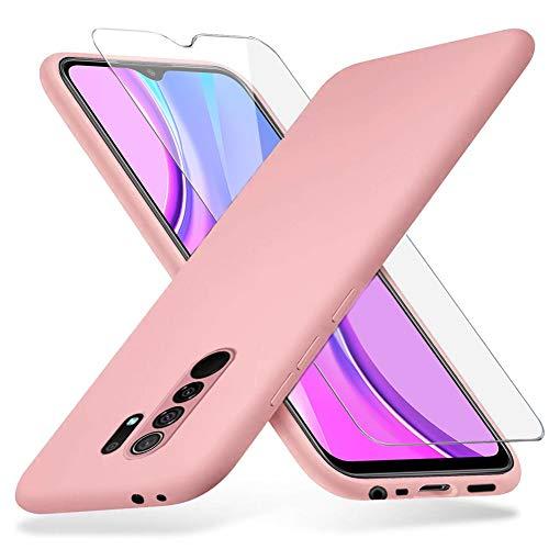 Richgle Xiaomi Redmi 9 Hülle und Panzerglas Schutzfolie, Dünn Weich TPU Silikon Hülle Handyhülle Schutzhülle Hülle für Xiaomi Redmi 9 - Rosa RG80375