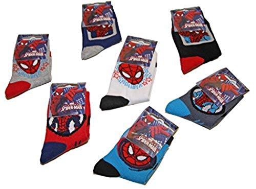 Pierre-cedric - Set di 6 paia di calzini per bambini e ragazzi, motivo: Spiderman della Marvel Assortiti 19/22