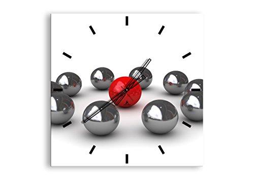 Orologio da Parete - Quadrato - Orologio su Vetro - Larghezza: 60cm, Altezza: 60cm - Numero dell'immagine 1386 - Movimento Continuo e Silenzioso - Pronto da Appendere - C3AC60x60-1386