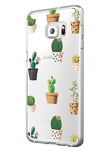 AIsoar Cover per Galaxy S7 Edge Trasparente Morbida Sottile TPU Cover Panda Lupo Cactus Galaxy S7 Edge Cover Silicone Bumper Morbida Crystal Clear Custodia per Samsung Galaxy S7 Edge (cactus1)