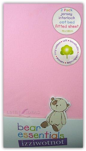 Izziwotnot - Lot de 2 draps-housse, lit de bébé en jersey - rose - 70 x 140 cm