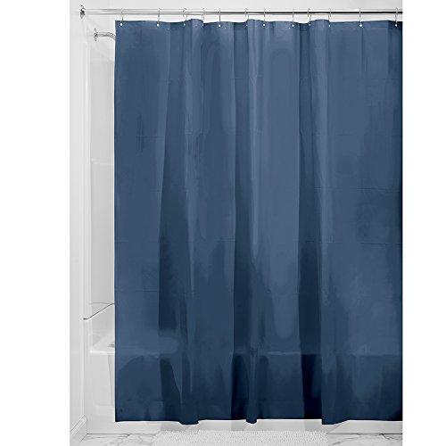 iDesign 3.0 Liner Futter für Duschvorhang, 183,0 cm x 183,0 cm großer Vorhang aus schimmelresistentem PEVA mit zwölf Ösen, marineblau