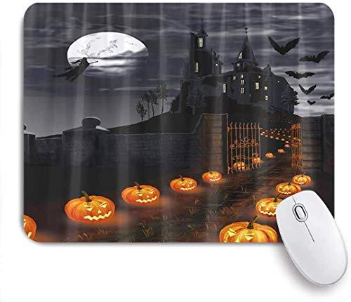 Gaming Mouse Pad rutschfeste Gummibasis, Halloween-Thema Magische Burg Kürbisse Laterne Hexe Fliegen in der Mondnacht mit Fledermaus lustig, für Computer Laptop Schreibtisch