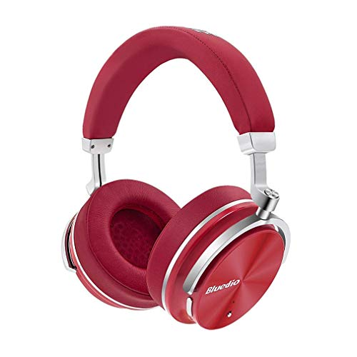 Bluedio T4S Superior Turbine Active Noise Cancelling Bluetooth Headphones Over-Ear Swiveling Wired and Wireless High-End Headphones with Mic with Carrying Bag for Cell Phone/PC/TV (Red)
