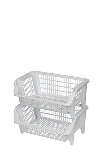 Regal bestehend aus zwei stapelbaren Körben aus Kunststoff in Weiß. Stapel- und nestbar. Beliebig erweiterbar. Maße BxTxH 54,5 x 38 x 47 cm!