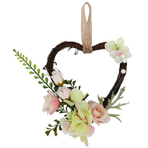 teng hong hui En Forma de corazón para sillas de simulación de la Flor Artificial de la Guirnalda Floral Decoración Hogar Matrimonio Verde Inicio Matrimonio Herramienta Ornamento Verde