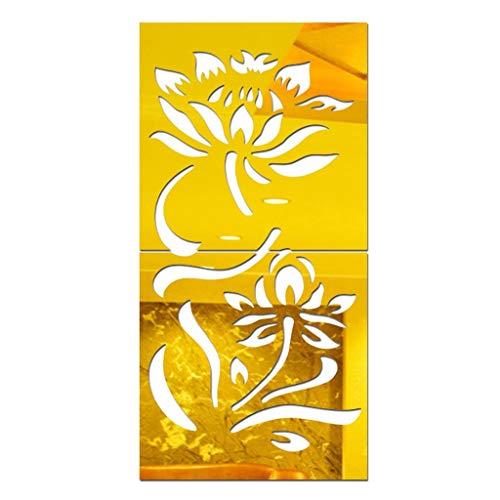 Jgashf Wall Sticker, adhesivos de pared DIY flores acrílicas, adhesivos de pared 3D, espejo extraíble para la habitación, habitación para niños, salón, decoración de la casa, dorado