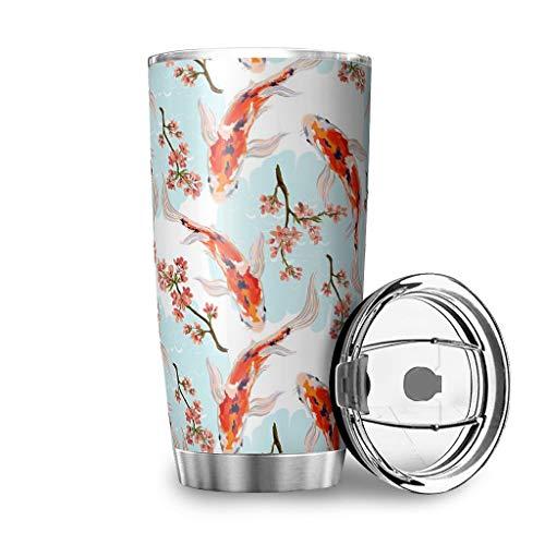 Ktewqmp Japan Fisch Reisebecher Deckel & Flip Edelstahl AutoBecher Vakuum Isolierbecher für Auto Trinkbeche Wasser und Tee White 600ml