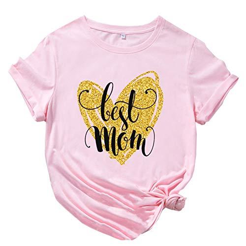 ZHANGXJ Camiseta de Manga Corta para Mujer Algodón Ablandado Verano Casual Tops para el día de la Madre Camiseta Suelto para el día de la madreideal como Regalo para tu Madre (Color : Pink 4XL)