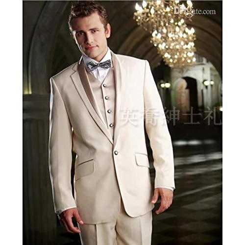 GFRBJK Coat Pant Designs Beige Herren Hochzeitsanzüge Slim Fit 3-teiliger Italienischer Smoking-Bräutigam-Abschlussball-Blazer , Wie Bild , XXS