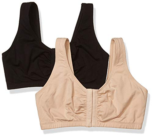Fruit of the Loom Women's Front Close Builtup Sports Bra, Sand/Black 2-Pack, 44