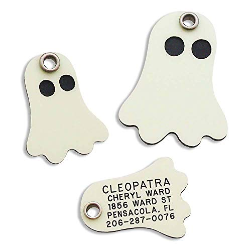LuckyPet Pet ID Tag - Ghost - Glows in The Dark - Custom Engraved Dog & cat Tags. Size: Small