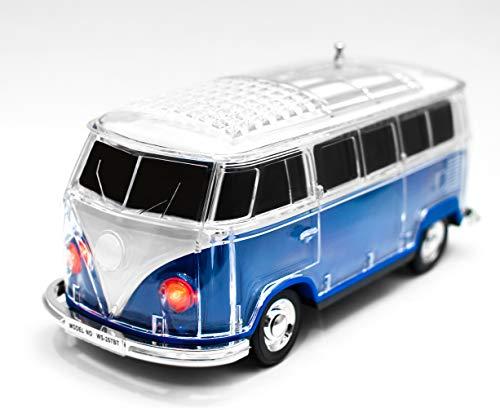 JeVx Altavoz Bluetooth Furgoneta Volkswagen T1 T2 - con Bateria Recargable Luz Led USB para Pendrive Lector de Tarjetas Micro SD Radio FM Portatil Reproductor de Musica Mp3 Maqueta de VW Van (Azul)