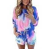 Xniral Damen Pyjama Schlafanzug Kurz Tie-Dye Bedruckte Nachtwäsche Nachthemd Hausanzug Set (i Blau, M)