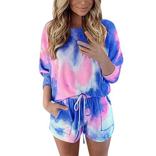 Xniral Damen Pyjama Schlafanzug Kurz Tie-Dye Bedruckte Nachtwäsche Nachthemd Hausanzug Set (i Blau, XXL)