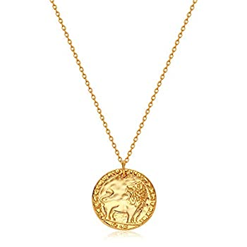 GUEMER Gold Lion Coin Necklace 18k Gold Plated Dainty Vintage Roman Disk Leo Lion Hammered Antiqued Textured Round Greek Worship Medal Keepsake Chic Medallion Stackable Pendant Necklace Gift for Her