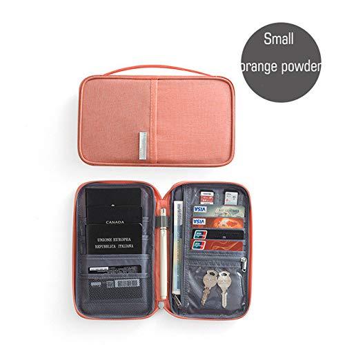 Hombre Mujer Organizador de Viajes Paquete de Tarjeta de Titular de Pasaporte Tarjeta de crédito Cartera multifunción Paquete de Tarjetas con múltiples Bolsillos de Moda - Polvo Naranja pequeño