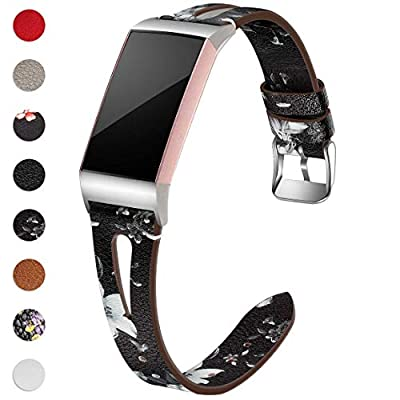 Maledan Compatible with Fitbit Charge 4 and Fitbit Charge 3 Bands for Women Men, Slim Genuine Leather Band for Charge 4/Charge 3/Charge 3 SE Fitness Activity Tracker, Small, Black/White Floral