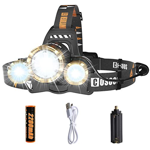 LED Headlamp Flashlight, COSOOS Rechargeable Headlamp with Red Safety Light, 2500 Lumen Xtreme Bright, Zoomable 4-Mode Head Lamp for Adults, Hardhat, Support AAA Battery, Li-ion Battery Included