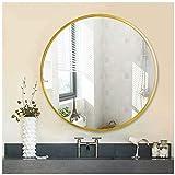 AUFHELLEN Rund Spiegel mit Gold Metallrahmen HD Wandspiegel aus Glas 60cm für Badzimmer, Ankleidezimmer oder Wohnzimmer Schminkspiegel (Gold, 60cm)