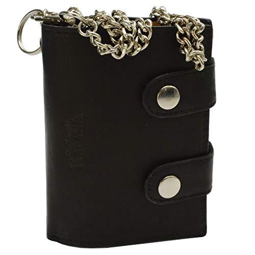 flevado Herren Brieftasche Ledergeldbörse Hochformat mit Karabiener Hosenkette schwarz
