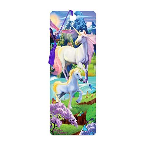 Bookmark 3D LiveLife - Unicorn Bliss. Lentikulare 3D Grafik durch Deluxebase, ein themenorientiertes Bookmark des Einhorns genehmigt vom bekannten Künstler Michael Searle, einschließlich eine dekorati