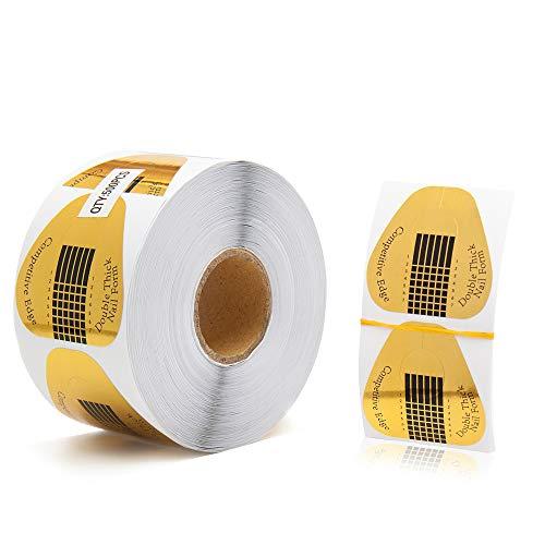 500 Stück Nagel Schablonen Modellierschablonen selbstklebend für Gel Nägel,Nagel Verlängerung Golden Schablonen