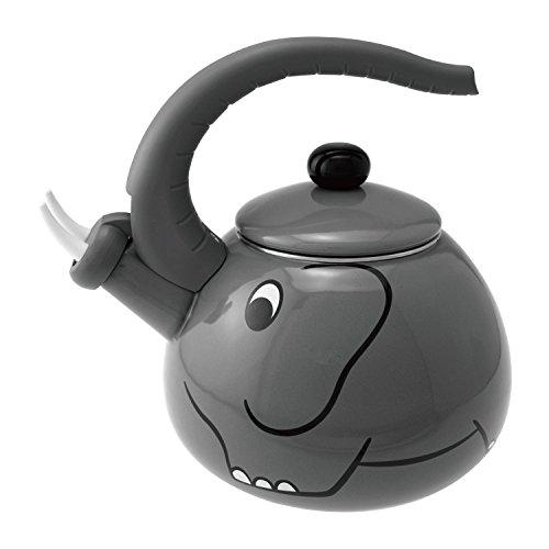 Supreme Housewares Emaille Whistling Teekanne Tee-Kessel Teakettle Stovetop, 2,0 Liter - Gourmet Artgrey Elefant-Entwurf