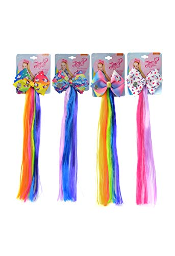 "JoJo Siwa Fun Colored Faux 12"" Hair Pony Extension with Printed Bows, 4-PACK Set"