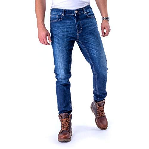 Burnell & Son Jeans Designer Hose für Herren Slim Fit mit Relaxed Stretch Tragegefühl und Premium Waschung   34W / 32L,  Dunkelblau