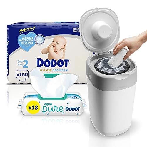 Dodot Sensitive Pañales Talla 2, 4-8 kg, 160 Pañales + GRATIS Contenedor de pañales Tommee Tippee + Toallitas Bebé con 99% Agua, 18 Paquetes, 864 Toallitas