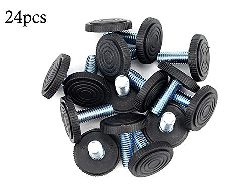 TOVOT 24 PCS M8 Screw On Furniture Glide Leveling Foot Adjustable Diameter 1.02 inch / 26 mm for Furniture Legs