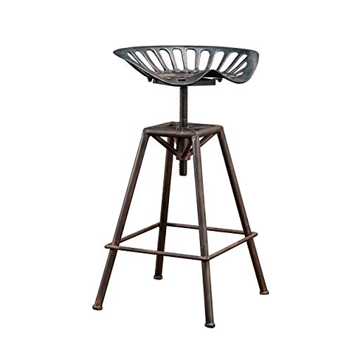 Christopher Knight Home Deal Furniture Charlie Industrial Metal Design Tractor Seat Bar Stool, Black...